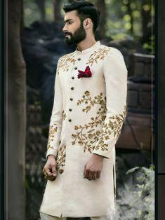 Regal Look Off White Sherwani Sherwani For Men Wedding, Wedding Dresses Men Indian, Groom Wedding Dress, Sherwani Groom, Wedding Suits, Wedding Attire, Indian Dresses, Bride Groom, Sikh Wedding