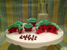 Wassermelonen-Cupcakes Pudding, Desserts, Food, Watermelon Cupcakes, Bakken, Tailgate Desserts, Deserts, Custard Pudding, Essen