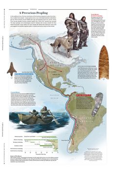 A Precocious Peopling [Illustrations by Tyler Jacobsen, map by XNR Productions, for the November 2011 issue of Scientific American] Scientific American Magazine, Astronomy Science, World Geography, Information Graphics, Creative Teaching, Historical Maps, World History, Fantasy Creatures, Ancient History