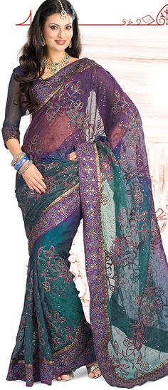 Deep Purple and Green Tissue Saree with Blouse @ $65.48 | Shop @ http://www.utsavfashion.com/store/sarees-large.aspx?icode=ssx1972