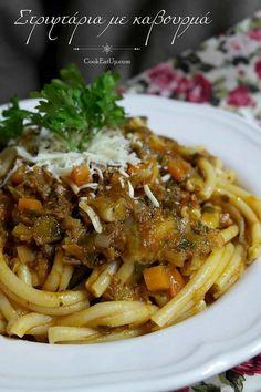 Στριφτάρια με καβουρμά. Νοστιμιά και ευκολία! Spaghetti, Pasta, Beef, Chicken, Kitchen Stuff, Cooking, Ethnic Recipes, Food, Essen
