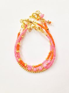 Pink Orange and Gold triple set of stacking by JuneandPenny