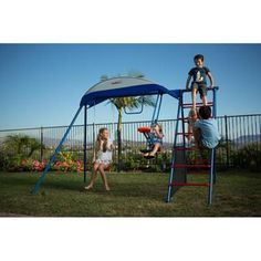 Metal Swing Set Ladder Climber UV Protective Sunshade Kids Outdoor Backyard Play #IronKids