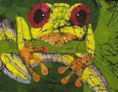 Wall Art - Tapestry - Textile - Frog On Ginko Fine Art Batik by Kay Shaffer Batik Art, Frog Art, Decoupage, Fantastic Art, Textile Artists, Silk Painting, Fabric Art, Art Images, Watercolor Art