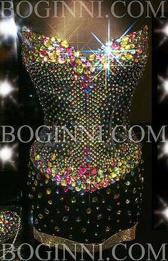 Boginni Bling Rainbow Crystal Corset Short Knee Long Black Prom Wedding Dress | eBay