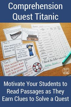 Teach your elementary students about the Titanic is this interactive reading unit. Full of engaging reading passages that teach the history of the ship and the sinking, this unit is highly motivating for students. Students will earn clues and solve a quest, all while they are practice reading comprehension. This resource will be one that your students remember. Guided Math, Guided Reading, Reading Passages, Reading Comprehension, Fifth Grade, Third Grade, Student Learning, Anchor Charts, Titanic