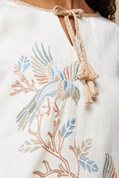 Hand Embroidered Linen Shift Dress With Rolled Up Sleeves