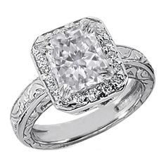 Radiant Diamond Halo Engagement Ring Wide engraved band 0.18 tcw. In 14K White Gold