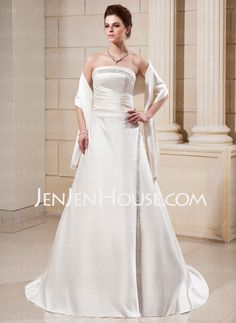 This in tea length in champagne color may a high low bottom...    Wedding Dresses - $165.99 - A-Line/Princess Strapless Chapel Train Satin Wedding Dresses With Ruffle (002000560) http://jenjenhouse.com/A-Line-Princess-Strapless-Chapel-Train-Satin-Wedding-Dresses-With-Ruffle-002000560-g560