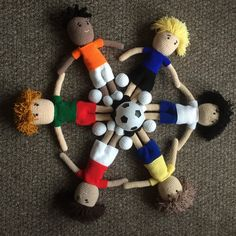 Little footballers preparing to celebrate the upcoming World Cup.  These were a special request order.