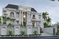 Calvin Private House Design - Jakarta- Quality house design of architectural services, experienced professional Bali Villa Tropical designs from Emporio Architect. House Fence Design, House Outside Design, Village House Design, Bungalow House Design, Classic House Exterior, Classic House Design, Dream House Exterior, Small Modern House Plans, Modern Villa Design
