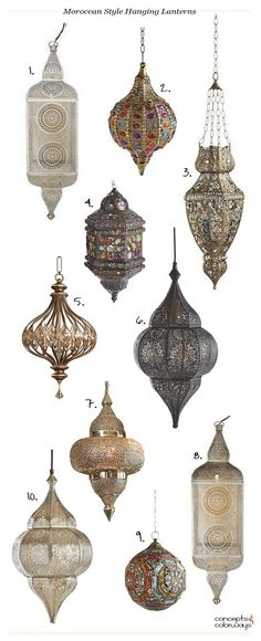 moroccan style hanging lanterns, bohemian style pendants, bohemian lighting, moroccan lighting, product roundup - My Interior Design Ideas Morrocan Decor, Moroccan Bathroom, Bohemian Bathroom, Moroccan Lamp, Moroccan Lanterns, Moroccan Design, Moroccan Style Bedroom, Moroccan Tiles, Moroccan Kitchen