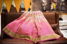 Hot Pink Wedding Lehenga with Gold sequins
