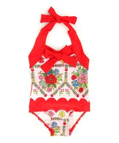 Love this Red Ribbon Floral One-Piece - Toddler & Girls on #zulily! #zulilyfinds