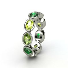Oval Emerald Sterling Silver Ring with Green Tourmaline & Peridot - Cloud Nine Ring | Gemvara