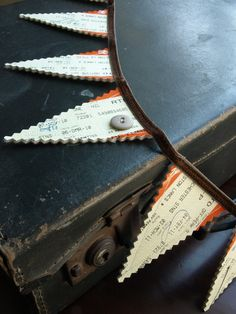 Mini-Bunting made from old train tickets. This unusual bunting is a great quirky way to decorate your home. Collected from train journeys Make Bunting, Bunting Garland, Bunting Ideas, Diy Gifts, Unique Gifts, Train Art, Train Tickets, Train Journey, Personalized Gifts