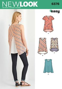 misses' easy tops can be short sleeve with cold shoulder or sleeveless in two lengths with high low and contrast back underlay. top can also be sleeveless with straight hem and no underlay. new look sewing pattern.