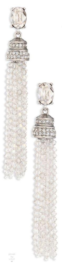 Oscar de la Renta Crystal Tassel Clip-On Earrings   LOLO❤︎