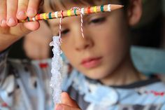 Making snow crystals. Borax, warm water, pipe cleaners.