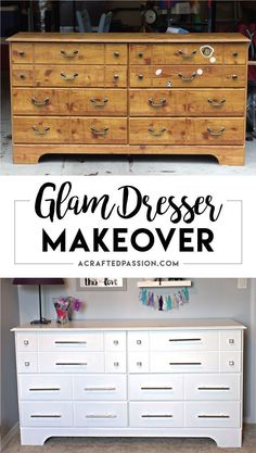 Check out this easy, DIY, glam dresser makeover!! The difference between the before and after is INCREDIBLE and the new hardware is stunning!! #diy #furniture