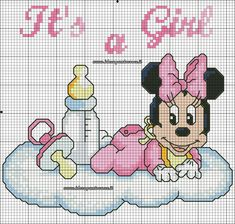 Mickey Mouse Art, Minnie Mouse, Cross Stitch Designs, Cross Stitch Patterns, Minnie Baby, Baby Gallery, Best Homemade Dog Food, Pixel Art, Couture