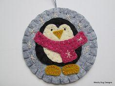 Penguin Ornament Snowflakes Wool Felt Large by WoollyBugDesigns
