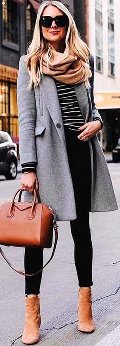 #winter #outfits gray coat