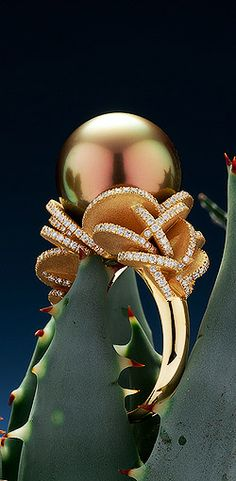 Robert Wan, ring Desert Rose Tahitian pearl peacok orange reflection with 270 diamonds on yellow gold