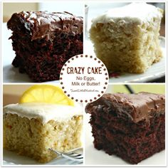 CRAZY CAKE - also known as Wacky Cake & Depression Cake. No Eggs, Milk, Butter, Bowls or Mixers! Super moist and delicious. Go-to recipe for egg/dairy allergies. Great activity to do with kids. Recipe dates back to the Great Depression. It's darn good cak Crazy Cake Recipes, Crazy Cakes, Sweet Recipes, Cake Recipes Without Eggs, 13 Desserts, Delicious Desserts, Dessert Recipes, Desserts With No Eggs, Egg Free Desserts