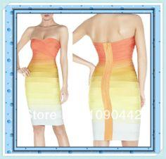 cheap bandage dresses uk gradient strapless bandage dress for girls DM683 US $49.99