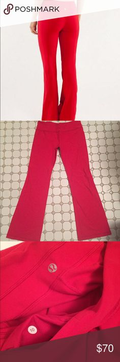 Lululemon 10 red groove pants sold out everywhere Retail 108.00 make me an offer Lululemon Groove Pant III Color: Red Pre owned great condition  Sizes: dot size shown in last pic 10 These pants are gorgeous on - both practical and very flattering. Perfect for barre, yoga, and everyday wear.  The Luon fabric w/ LYCRA is cottony soft and very comfortable.. They are absolutely stunning on. Get them while you can! 100% Authentic (comes with Lululemon bag). Smoke-free home. These classic…