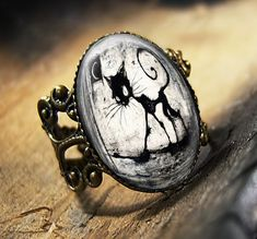 Black Cat & Moon Gothic Grunge Horror Halloween Antique Bronze Ring 479-AR. $15.99, via Etsy.