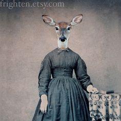 Deer Art, Mixed Media Collage Print, 5x7 Altered Civil War Portrait, Violet, frighten. $15.00, via Etsy.