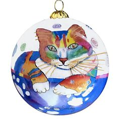 Abby Coffee Cat Hand-Painted Glass Ball Ornament, front view, by Claudia Sanchez Coffee Cat, Ball Ornaments, Glass Ball, All Art, Original Artwork, Hand Painted, Cats, Painting, Image