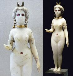Sumerian goddess Inanna/Ishtar was at once lovely and terrible, seducing many great men and then killing them. Her unearthly white skin and glowing red eyes warn those who might answer her as she beckons with her right hand.