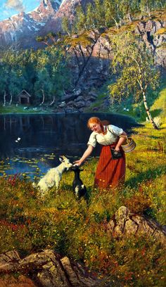 Milkmaid with goats, Hans Dahl, Norwegian, 1849 - 1937 Paintings I Love, Beautiful Paintings, Figure Painting, Painting & Drawing, Italian Artist, Dahl, Art Model, Artist Art, Art History