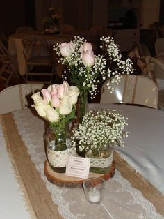 Burlap and Lace Wedding Centerpiece - rustic chic reception NOTE TO SELF: think hydrangea and baby's breath here Lace Wedding Centerpieces, Simple Centerpieces, Flower Centerpieces, Wedding Flowers, Wedding Decorations, Wedding Ideas, Rose Flowers, Orange Flowers, Floral Wedding