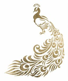 "This is a 2.5"" x 3"" temporary tattoo of a gold majestic peacock"