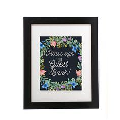 ブラック ボードにはゲスト本サイン、印刷、ゲスト本結婚式のサイン、ブラック ボード、結婚式 Printables、花の結婚式サイン