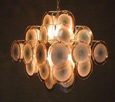 Purple lilac Vistosi glass disc chandelier 36 door ICONICLIGHTS, €1350.00