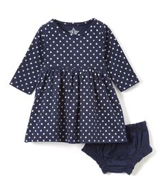 Navy & Silver Polka Dot Dress & Bloomers - Infant