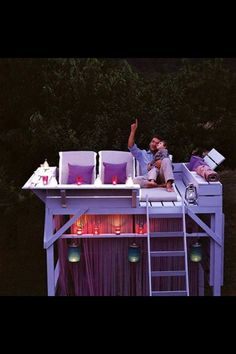 Converted bunk bed!! Star gazing seats at night & tanning bed during the day! Wet bar underneath? What a great idea!