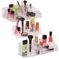 Richards Homewares Clear Multi-Compartment Cosmetic Organizers - These range from $7.99 to $14.99 and can be purchased at http://www.bedbathandbeyond.com/store/product/richards-homewares-clear-multi-compartment-cosmetic-organizers/213339?Keyword=drawer+organizer.