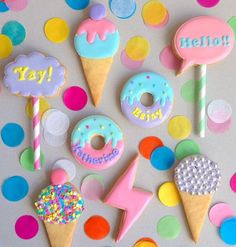These adorable sugar cookies are from the amazing acornmilk. Iced Cookies, Cute Cookies, Easter Cookies, Royal Icing Cookies, Birthday Cookies, Cupcake Cookies, Sugar Cookies, Cookies Et Biscuits, Candyland