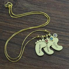 Gold Baby Feet Charm Birthstone Mother by NameplateNecklace