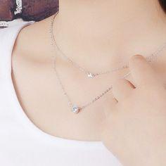 925 스털링 실버 보석 AAA 지르콘 CZ 다이아몬드 크라운 초커 목걸이 여성 맥시 다층 더블 목걸이 & 펜던트 D354