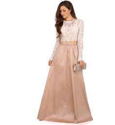 Monica White Lace And Taffeta Prom Dress