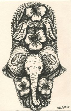 Elephant Hamsa. I would get this as a tattoo in a heartbeat!