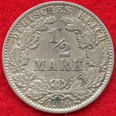 GERMANY - 1/2 MARK - 1914 J (HAMBURG) - 90% SILVER - 0.0801 ASW