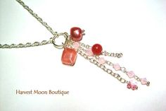 Cascading Pendant Silver Necklace Pink Beaded Swarovski Crystal Artisan Jewelry by Angie Pinkal Unique One of a Kind Wedding Bridal Prom by AngiePinkal